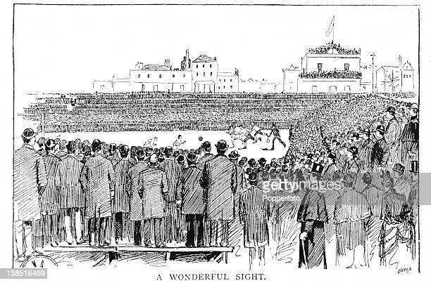 An illustration from the Pall Mall Budget periodical published on 29th March 1888 featuring action from the English FA Cup Final between Preston...