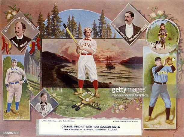 An illustration in the book Baseball by Seymour Church features baseball Hall of Fame players Adrian 'Cap' Anson and George Wright published in 1902...