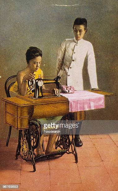 An Illustration of a Couple using a Singer Sewing Machine circa 1870