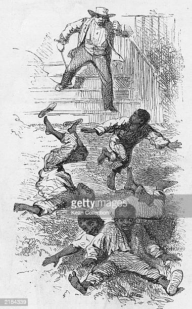 An illustration of a man with a whip attacking four AfricanAmerican boys from the novel 'Uncle Tom's Cabin' by American novelist Harriet Beecher...