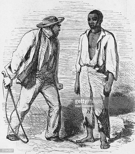 An illustration of a man with a whip standing next to an African american slave from the novel 'Uncle Tom's Cabin' by American novelist Harriet...