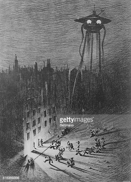 An illustration of a Martian fighting machine hovering over Londoners in Regent Street and Piccadilly from a 1906 edition of The War of the Worlds by...
