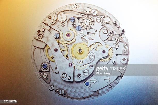 An illustration of a movement for a GirardPerregaux ''column wheel chronograph'' wristwatch is displayed at the company's production site in La...