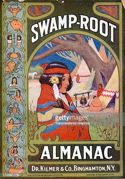An illustration of a native village is on the cover of the Swamp Root Almanac is produced in 1904 in Binghamton New York