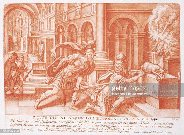 An illustration of a scene from 1 Maccabees Chapter 2 in the Bible in which Mattathias kills a Jew who comes to make a sacrifice at an altar