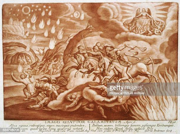 An illustration of a scene from Revelation Chapter 6 in which the four horsemen of the Apocalypse ride the earth the souls of those who were killed...