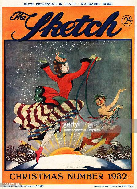 LONDON DECEMBER An illustration of a welldressed woman a panlike creature dance through the snow on the cover of the December 1932 issue of The...