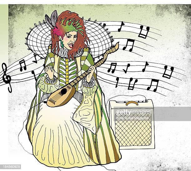An illustration of an Elizabethan woman playing an electric lute created on March 27 2012