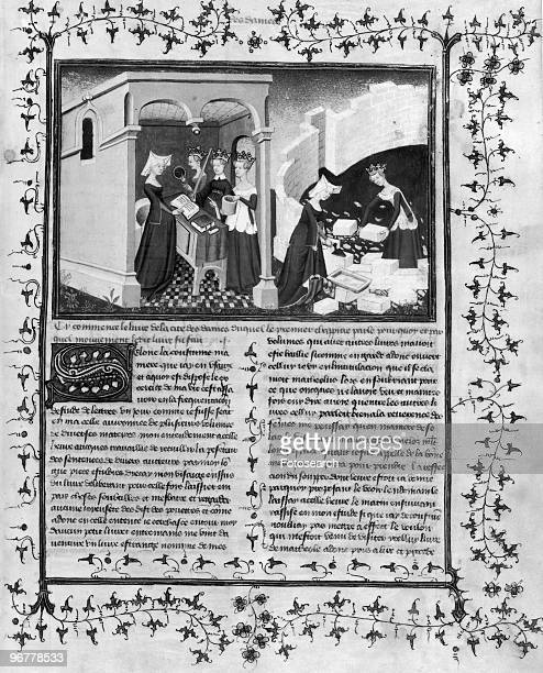 An Illustration of Christine de Pisan aided by Reason Uprightness and Justice lays the foundation of a City exclusively for women circa 1407