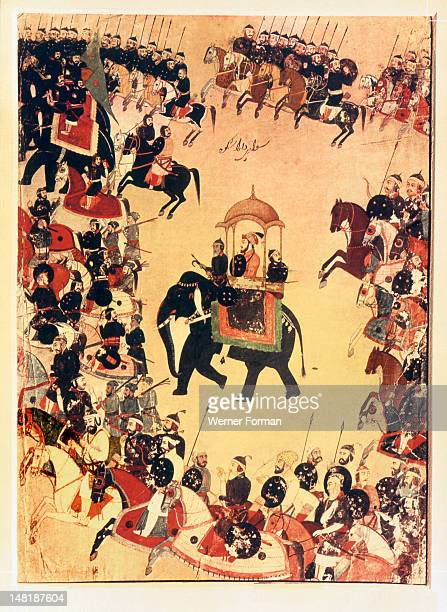 An illustration of Dara Shikok, Shah Jahan's son, with his armies, In 1657 Shah Jahan fell ill, precipitating a struggle for succession among his...
