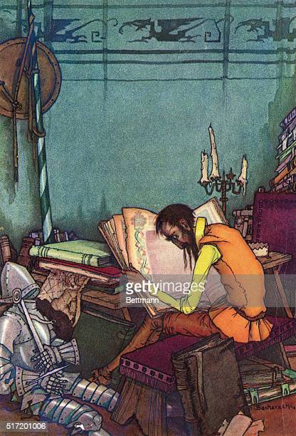 An illustration of Don Quixote studying medieval manuscripts in order to be a knight
