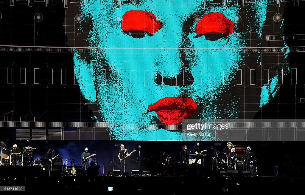 An illustration of Donald Trump appears on the screen during Roger Waters performance at Desert Trip at The Empire Polo Club on October 9, 2016 in Indio, California.