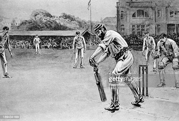 An illustration of Dr WG Grace , Gloucestershire and England, batting at Lord's cricket ground, in London, circa 1895.