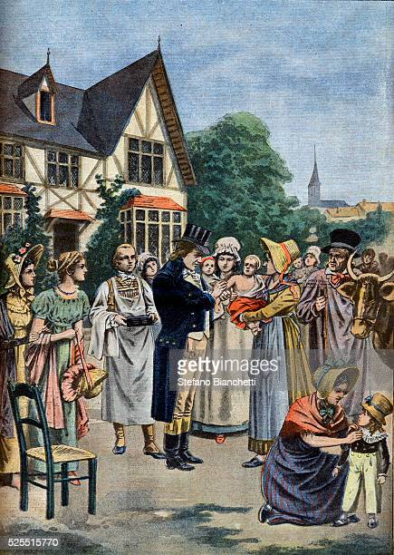 An illustration of Edward Jenner vaccinating a child in 1796 from Le Petit Journal 1901