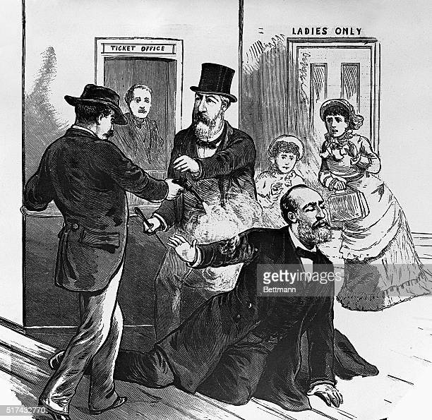 An illustration of James A Garfield 20th President fo the United States being shot by Charles Guiteau on July 2 1880 Undated illustration
