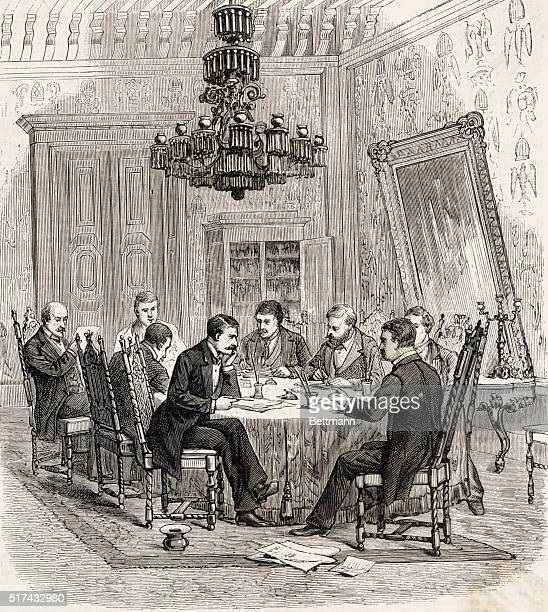 An illustration of Jose de la Cruz Porfirio Diaz President of Mexico meeting with his Cabinet members in the National Palace in Mexico City Entitled...