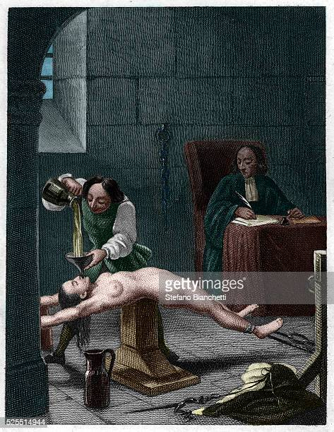 An illustration of Madame de Brinvilliers under torture published in an 1847 edition of Crimes Celebres by Alexandre Dumas Brinvilliers was found...