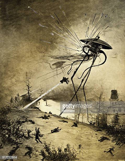 An illustration of Martians attacking from a 1906 edition of The War of the Worlds by HG Wells