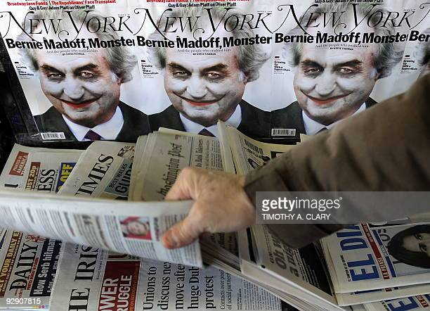 An illustration of Ponzi scheme mastermind Bernard Madoff portrayed as the Joker from Batman is seen on the cover of New York Magazine at a newstand...