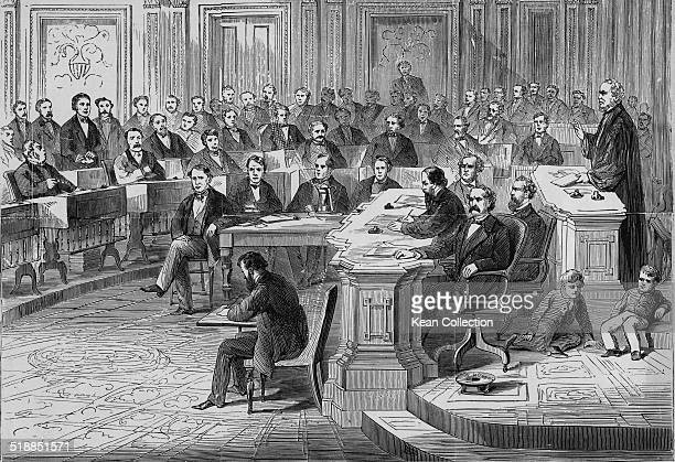 An illustration of President Andrew Johnson's impeachment trial in the Senate, 1868.