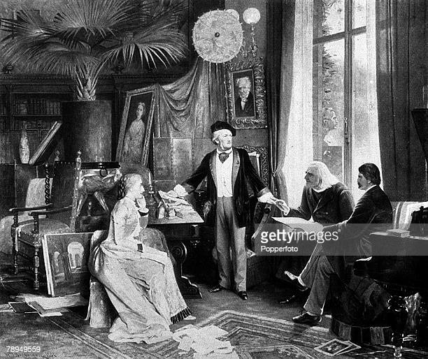 An illustration of Richard Wagner the German composer with Franz Liszt the Hungarian composer Cosima Wagner and Moriz Rosenthal a pupil of Liszt in...