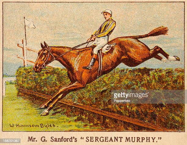 An illustration of Sergeant Murphy ridden by Captain Tuppy Bennett winning the Grand National at Aintree racecourse near Liverpool 23rd March 1923...