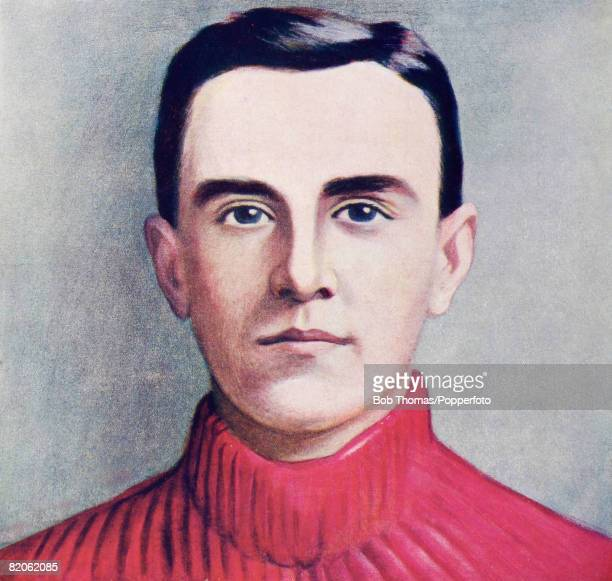 An illustration of Stoke City's Welsh International goalkeeper Leigh Roose circa 1904