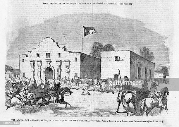 An illustration of the Alamo after it was handed over to the Texas militia by General David Twiggs Twiggs turned over all United States military...