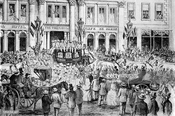 An illustration of the arrival of the 'All England Eleven' the England cricket team at the Cafe de Paris in Bourke Street Melbourne 24th December...