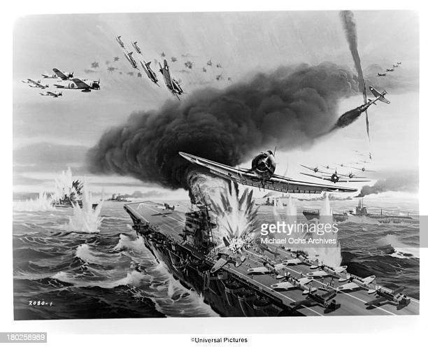 An illustration of the Battle of Midway for Universal Studios movie Midway in 1976