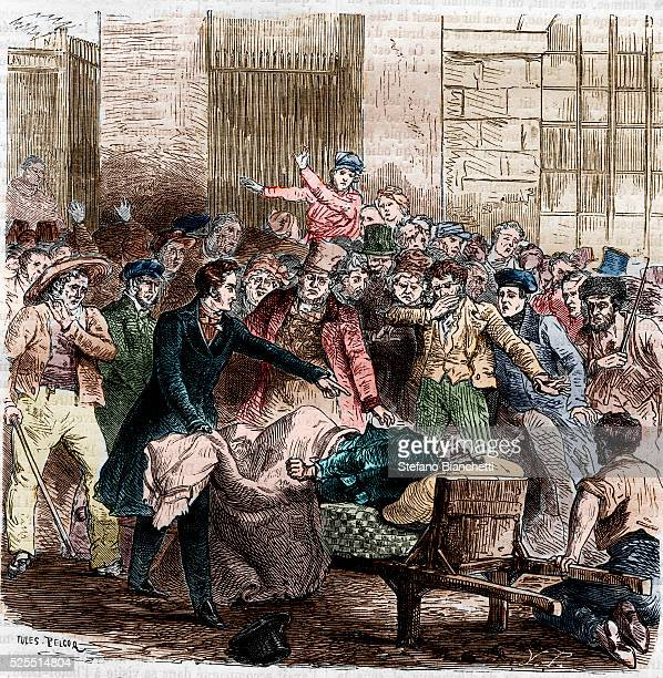 An illustration of the beginning of a cholera epidemic in Paris, April 1832, from an 1866 edition of Histoire Populaire de la France, published by...