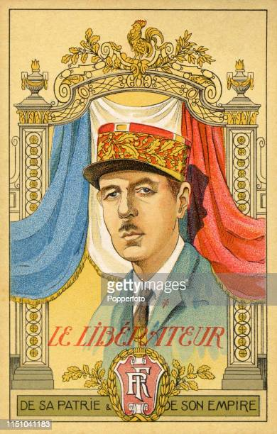"""An illustration of the French """"liberator"""", Charles de Gaulle during World War Two, circa 1945."""