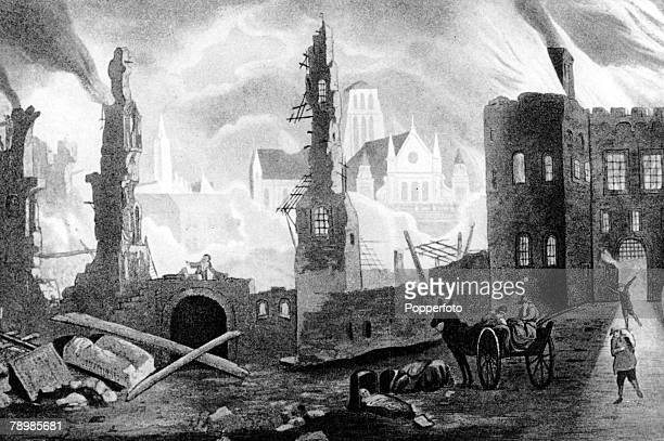 1666 An illustration of the great fire of London