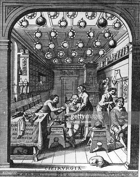 1652 An illustration of the interior of an apothecary shop in seventeenth century Munich
