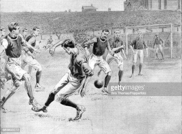 An illustration of the League Division One football match between the league leaders Aston Villa and second placed Liverpool who needed to win to...