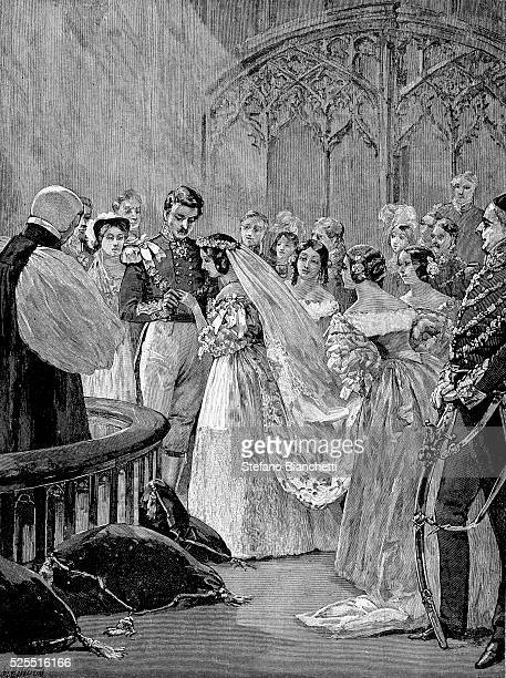 An illustration of the marriage of Queen Victoria and Prince Albert on February 10 1840