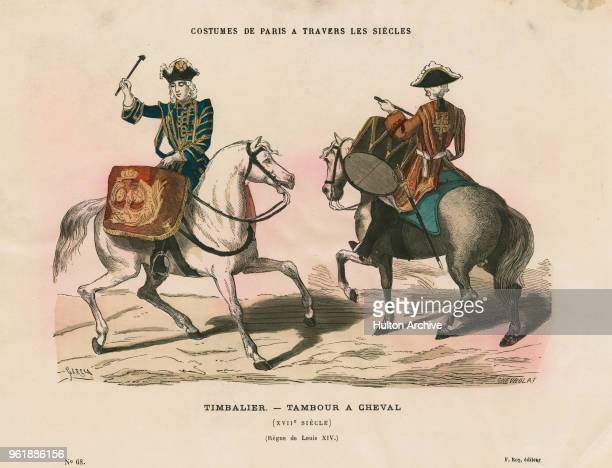 An illustration of the uniforms for a French cavalry mounted drummer Tambour a Cheval of the Army of Louis XIV of France circa 1685 France