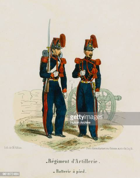 An illustration of the uniforms for a Private and Officer of French Line Artillery Regiment d'Artillerie a Pied circa 1848 France From an original by...