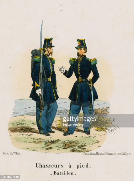 An illustration of the uniforms for a Private and Officer of French Line Infantry Chasseurs Chasseurs a Pied circa 1848 France From an original by...