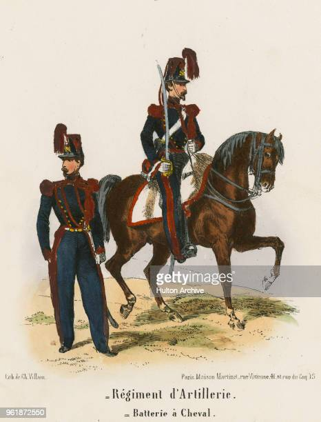 An illustration of the uniforms for a Private and Officer of French Horse Artillery Regiment d'Artillerie a Cheval circa 1848 France From an original...