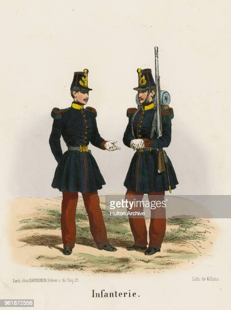 An illustration of the uniforms for a Private and Officer of French Line Infantry Voltigeurs circa 1848 France From an original by Villain