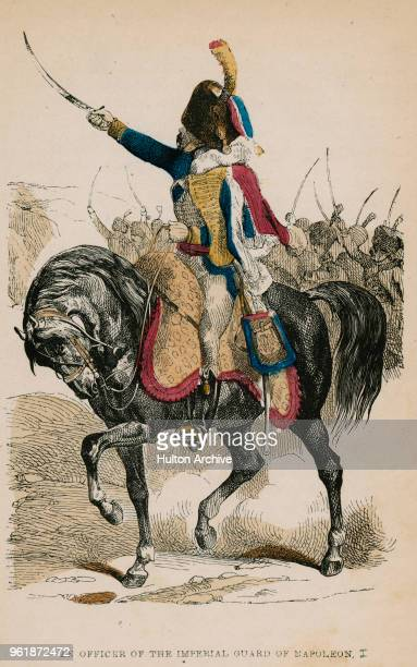 An illustration of the uniforms for an Officer of the French Imperial Guard Chasseur à cheval Garde Imperial circa 1812 France