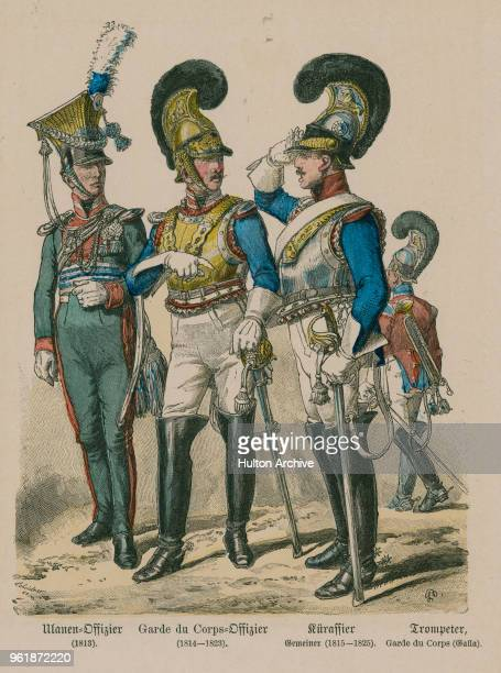 An illustration of the uniforms for Bavarian Lancer, Uhlan an Officer of the Garde du Corps, trooper of Cuirassier and a trumpeter of the Garde du...