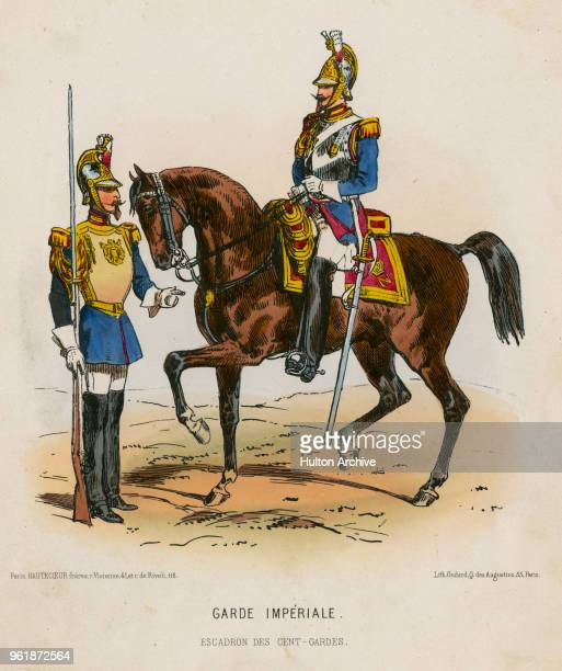 An illustration of the uniforms for French Imperial Guard Carabinier Carabiniers à cheval Garde Imperial circa 1848 France From an original by Villain