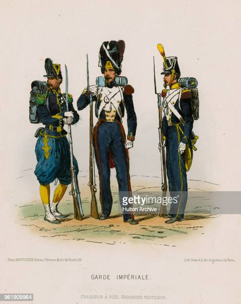 An illustration of the uniforms for Privates of the French Imperial Guard Infantry Chasseurs Chasseurs a Pied Grenadier Grenadiers a Pied and...