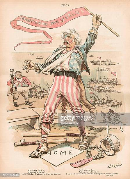 An illustration of Uncle Sam defeated in trade but waving a baseball champion pennant from Puck magazine