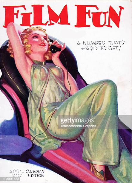 An illustration of young starlet is the cover girl for Film Fun magazine published in New York City in April of 1931