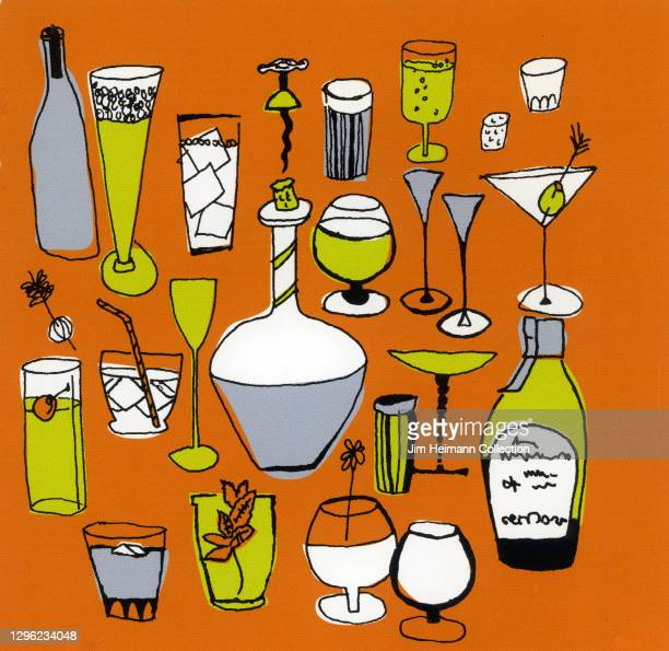 An illustration pattern shows an array of glasses, bottles, and tumblers meant to hold various forms of alcohol including wine, beer, and cocktails,...