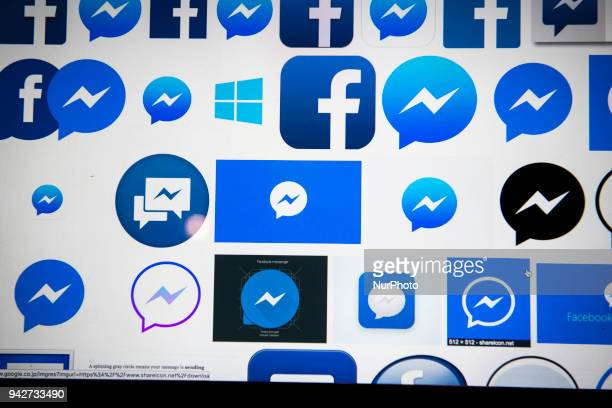 An illustration picture taken on a personal computer on April 6 2018 in Tokyo shows the logos of imessenger of the social networking app Facebook