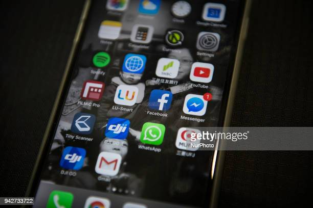 An illustration picture taken on a smart phone on April 6 2018 in Tokyo shows the icon for the social networking app Facebook